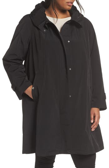 Plus Size Women's Gallery A-Line Raincoat, Size 1X - Black