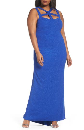Plus Size Marina Cutout Detail Gown, Blue