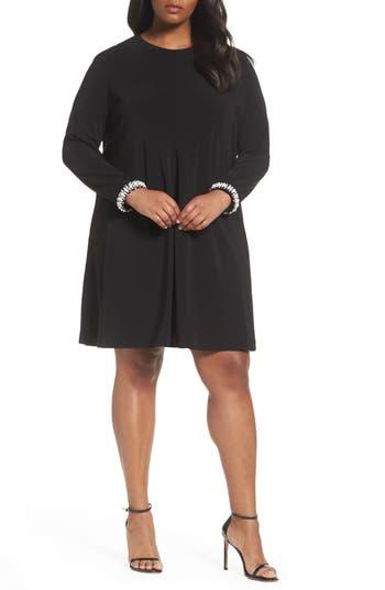 Plus Size London Times Embellished Cuff Trapeze Dress, Black
