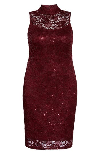 Plus Size Marina Sequin Lace Sheath Dress, Red