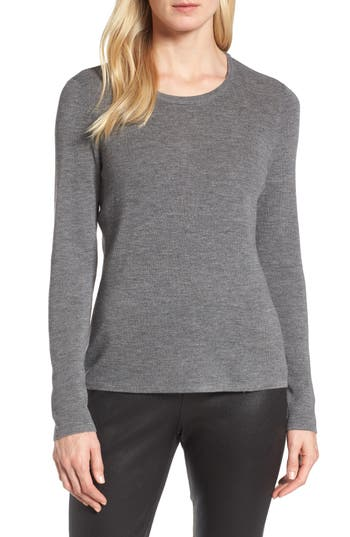 Eileen Fisher Slim Merino Wool Sweater, Grey