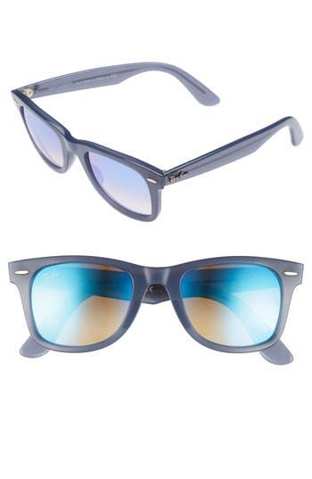 Ray-Ban 50Mm Wayfarer Ease Gradient Mirrored Sunglasses - Blue Gradient