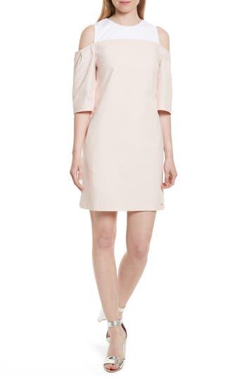 Ted Baker London Janoo Cold Shoulder Shift Dress, Pink