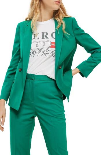 Women's Topshop Double Breasted Suit Jacket, Size 2 US (fits like 0) - Green