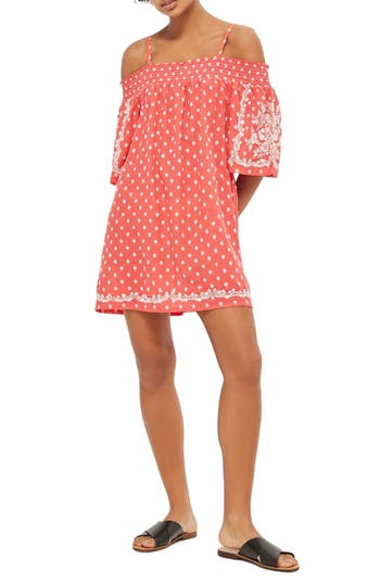 Women's Topshop Embroidered Off The Shoulder Shift Dress, Size 2 US (fits like 0) - Coral