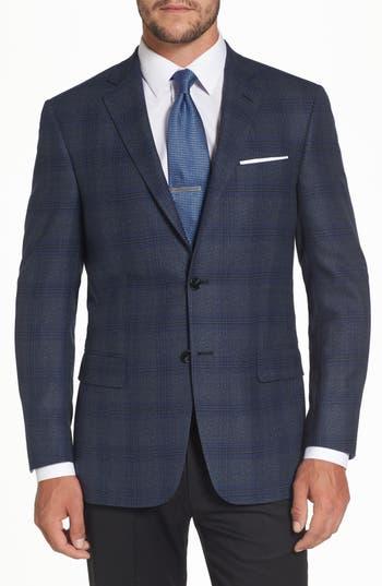 Big & Tall Hart Schaffner Marx Classic Fit Plaid Wool Sport Coat, 0 R - Blue