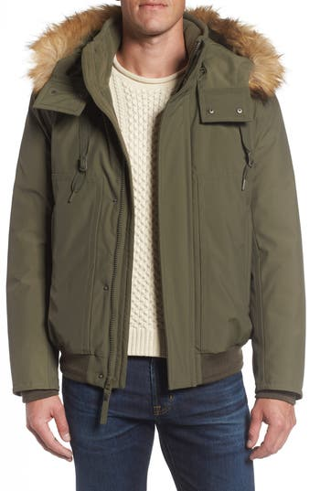Marc New York Insulated Bomber Jacket With Faux Fur Trim, Green