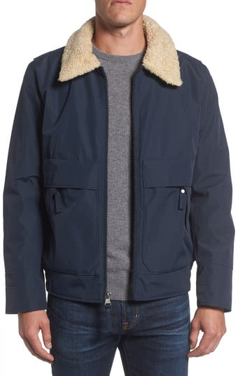 Men's Marc New York Porter Faux Shearling Collar Aviator Jacket, Size Small - Blue