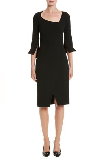 Oscar De La Renta Split Double Face Wool Blend Crepe Dress, Black