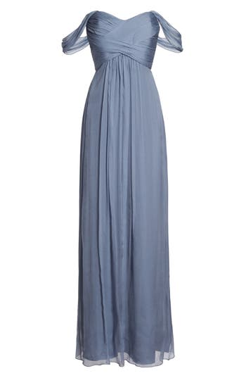 Amsale Convertible Crinkled Silk Chiffon Gown, Grey