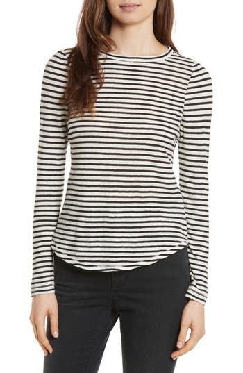 La Vie Rebecca Taylor Long Sleeve Stripe Tee, Ivory