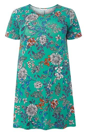 Plus Size Women's Evans Floral Print Swing Top, Size 14W US / 18 UK - Green