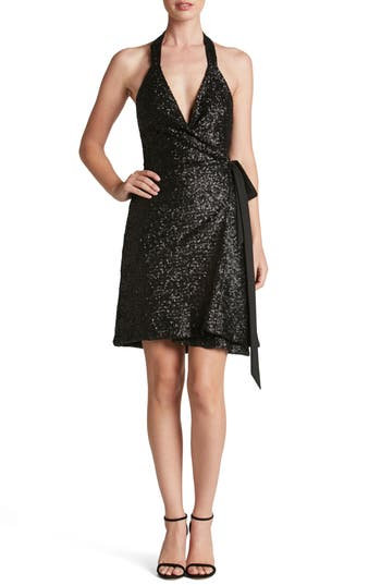 Women's Dress The Population Danielle Sequin Wrap Mini Dress, Size X-Small - Black