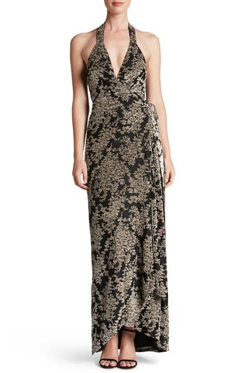Dress The Population Erica Floral Velvet Wrap Gown, Black