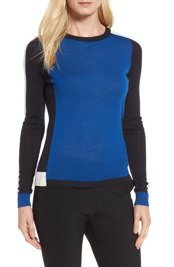 Boss Ferda Colorblock Wool Sweater, Blue