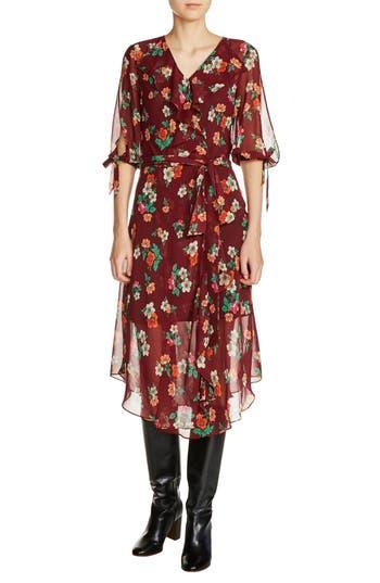 Women's Maje Ruffle Floral Print Faux Wrap Dress, Size 1 - Burgundy