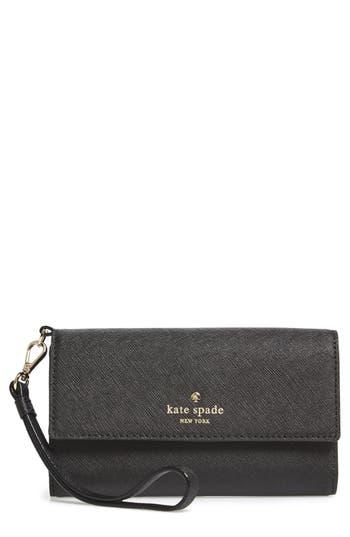 Women's Kate Spade New York Iphone 7 Leather Wristlet - Black