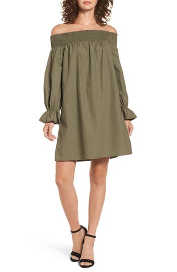 Women's Soprano Off The Shoulder Shift Dress, Size X-Small - Green