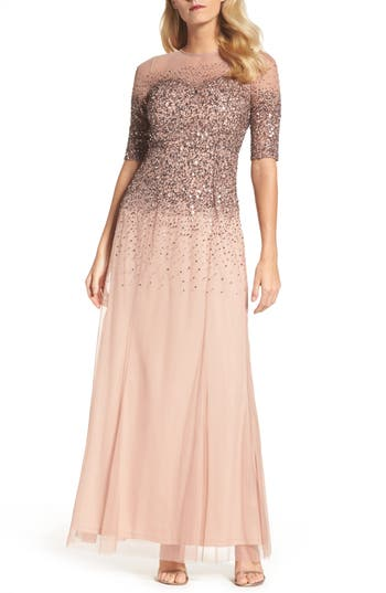 Adrianna Papell Beaded Illusion Bodice Mesh Gown, Pink