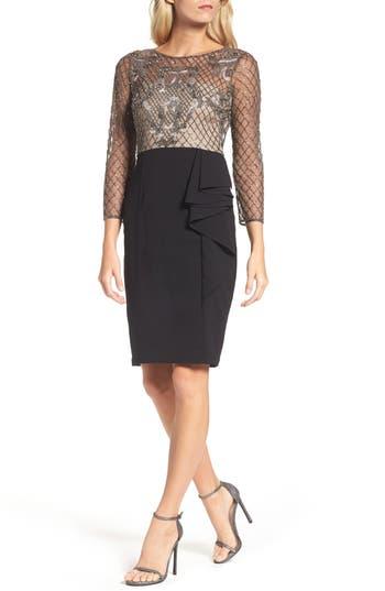 Women's Adrianna Papell Embellished Bodice Drape Front Dress