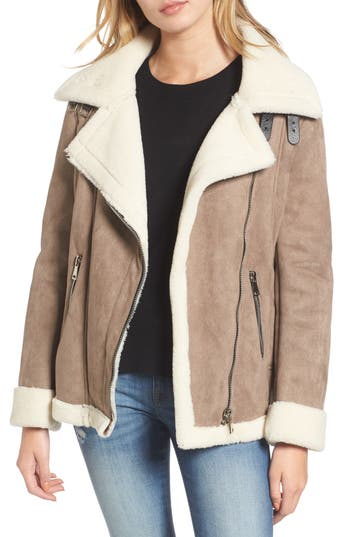 Women's Vigoss Faux Shearling Oversized Jacket, Size X-Small - Beige