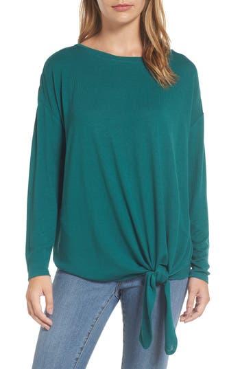 Caslon Tie Front Sweatshirt, Green