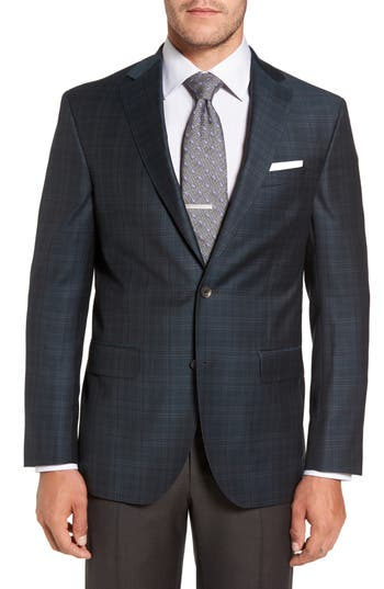 Big & Tall David Donahue Connor Classic Fit Plaid Wool Sport Coat, 0 R - Green