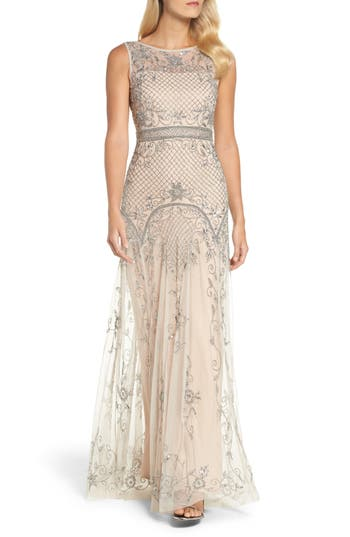 Adrianna Papell Beaded Illusion Column Gown, Beige