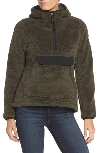 The North Face Campshire High Pile Fleece Pullover Hoodie, Green