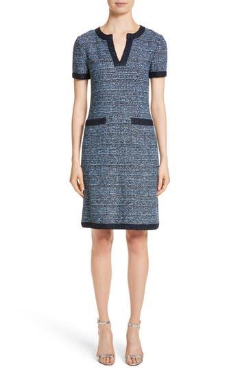 St. John Collection Short Sleeve Knit Dress, Blue