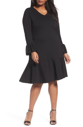 Plus Size Sejour Flounce Hem Dress, Black