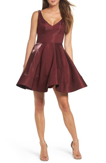 Xscape Shimmer Fit & Flare Dress, Red