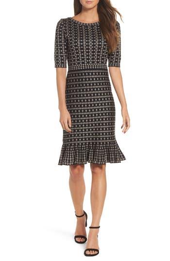 Taylor Dresses Flounce Hem Sweater Dress, Black