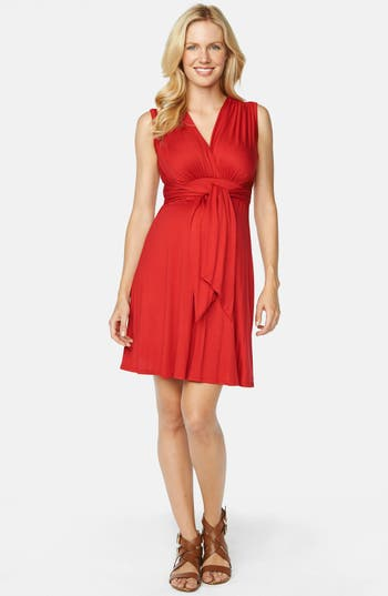 Maternal America Tie Front Maternity Dress, Red