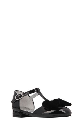 Girl's Nina Almira T-Strap Bow Flat, Size 4 M - Black