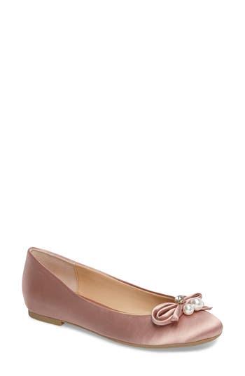 Jewel Badgley Mischka Adeline Bow Flat- Pink