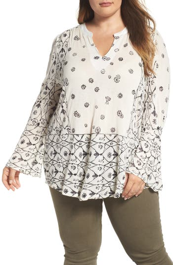 Plus Size Lucky Brand Mix Geo Print Peasant Blouse, White