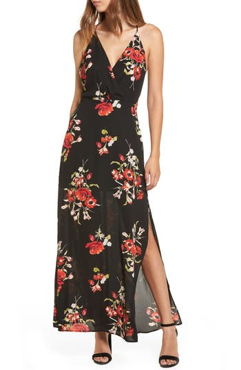 Surplice Maxi Dress, Black