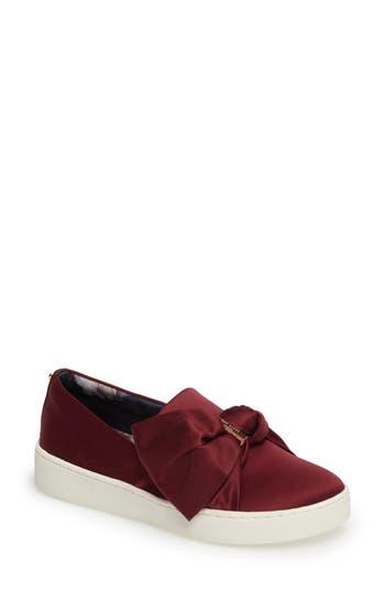 Ted Baker London Deyor Bow Slip-On Sneaker, Burgundy
