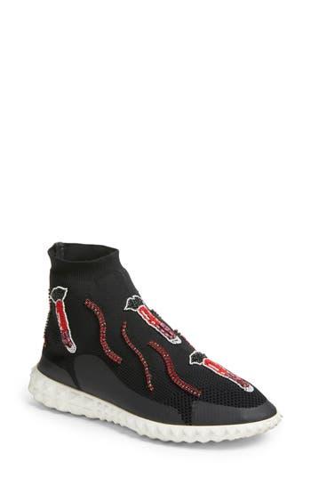Valentino Garavani Lipstick Embellished High Top Sneaker, Black