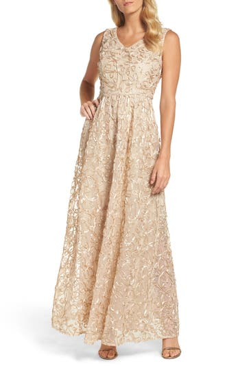 Ellen Tracy Ribbon Soutache Gown, Beige