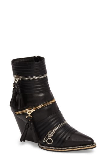 Jeffrey Campbell Tenzin Chain Pointy Toe Boot- Black