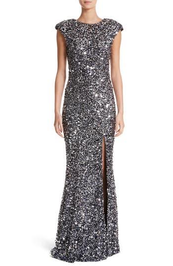 Rachel Gilbert Hand Embellished Sequin Gown, Black