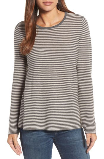Eileen Fisher Stripe Merino Wool Sweater, Grey