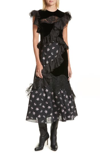 Rebecca Taylor Velvet Floral Jacquard Midi Dress, Black