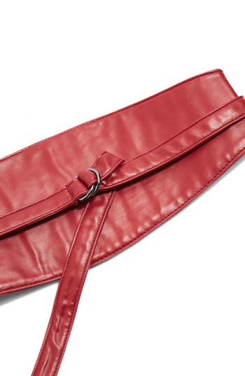 Topshop Faux Leather D-Ring Obi Belt, Red