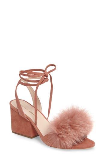 Women's Loeffler Randall Nicky Genuine Fox Fur Ankle Wrap Sandal, Size 10 M - Pink