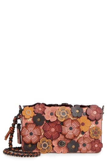 Coach 1941 'Dinky' Flower Appliqué Leather Crossbody Bag - Pink
