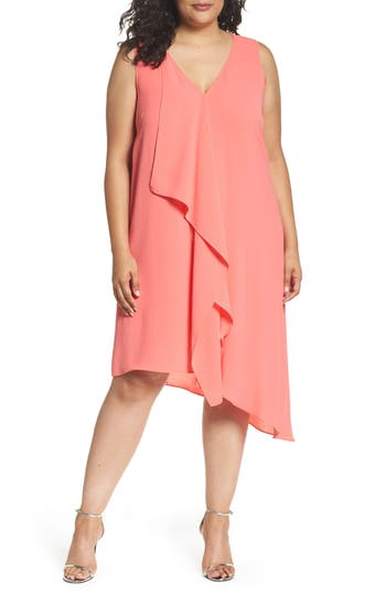 Plus Size Adrianna Papell Sleeveless Asymmetrical Front Drape Crepe Shift Dress, Coral