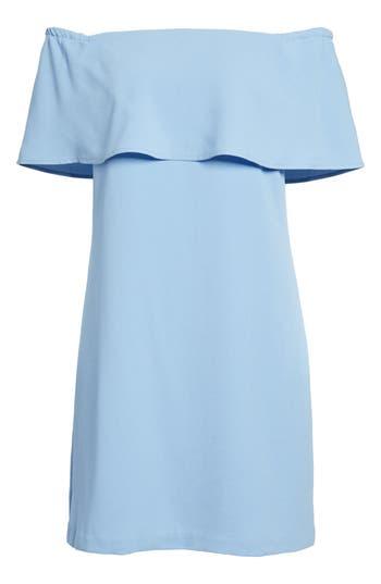 Charles Henry Off The Shoulder Dress, Blue
